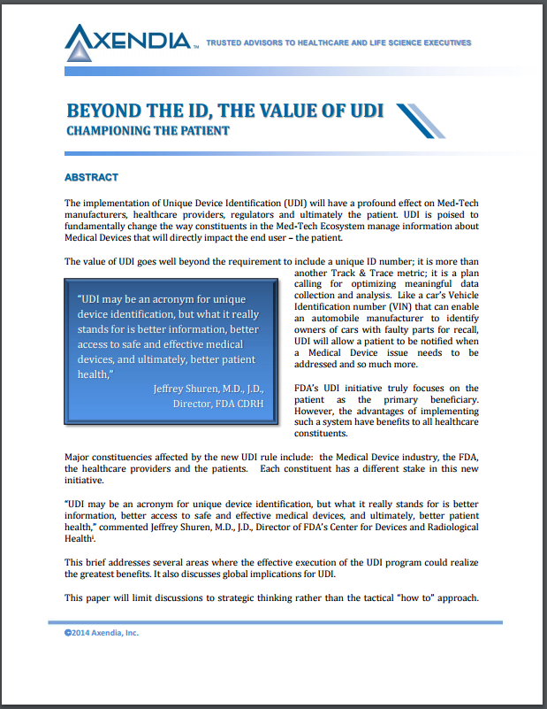 Beyond the ID, The Value of UDI